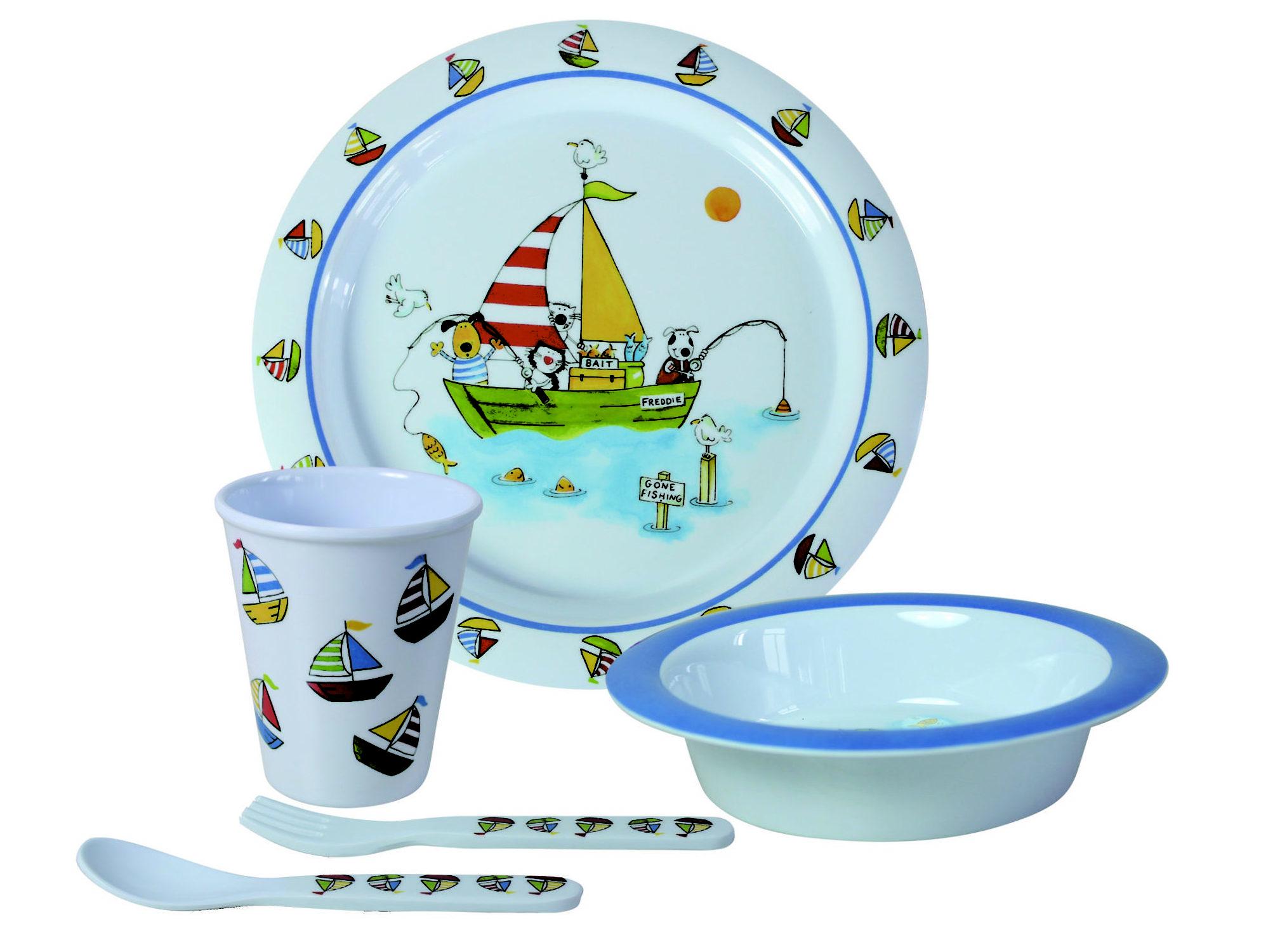 Spisesæt børn - med motiver til børn og baby - melamin