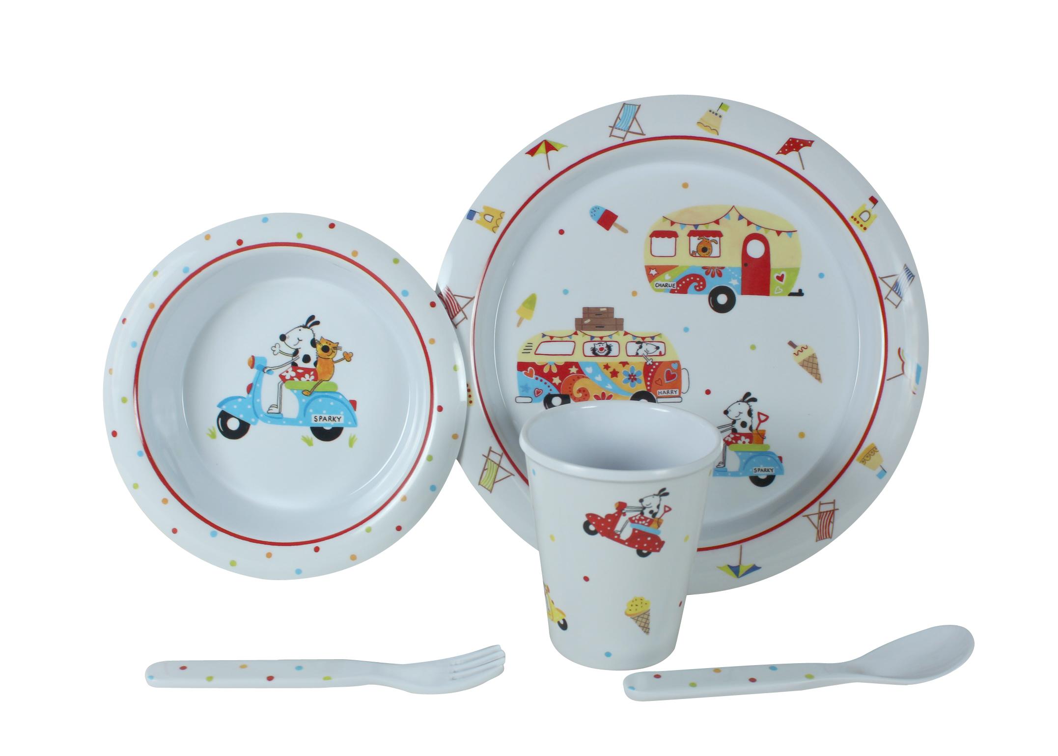 Spisesæt børn - med figurer til børn og baby - melamin